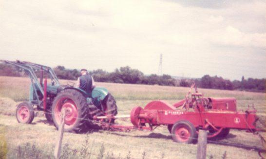 Beggar's Barn:  Geoff Franklin baling hay