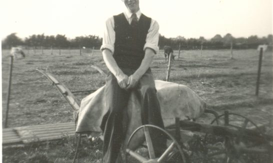 Beggar's Barn:  Geoff Franklin with his seed drill