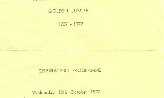 Celebration Programme for Women's Institute Golden Jubilee, 1927-1977