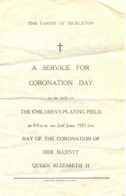 Coronation Day Religious Service   Mickleton Community Archive