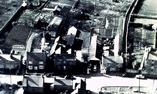 Aerial view of David Struthers's garage on High Street and surroundings