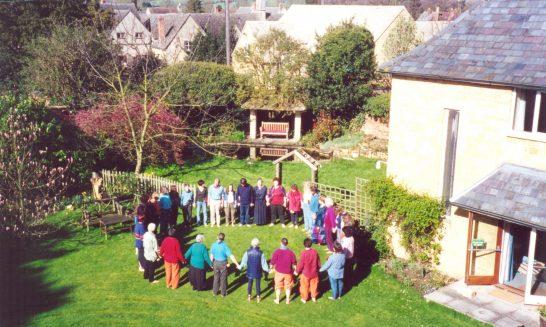 Emissaries of  Divine Light in the garden of Mickleton House