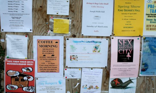 Posters advertising village events