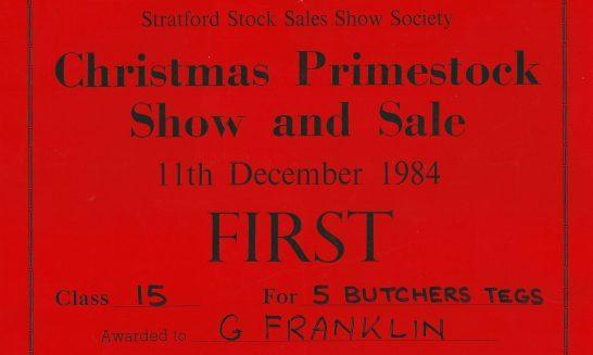 Geoff Franklin's First Prize Certificate