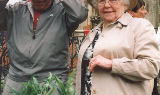 Allen and Beatrice Kitchen celebrating the 60th anniversary of V.E.Day in 2005.
