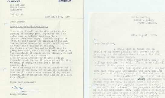 Letters concerning Queen Mother's 90th Birthday