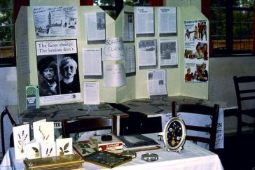 Display about the WI' campaigning activities and a pressed flower exhibit